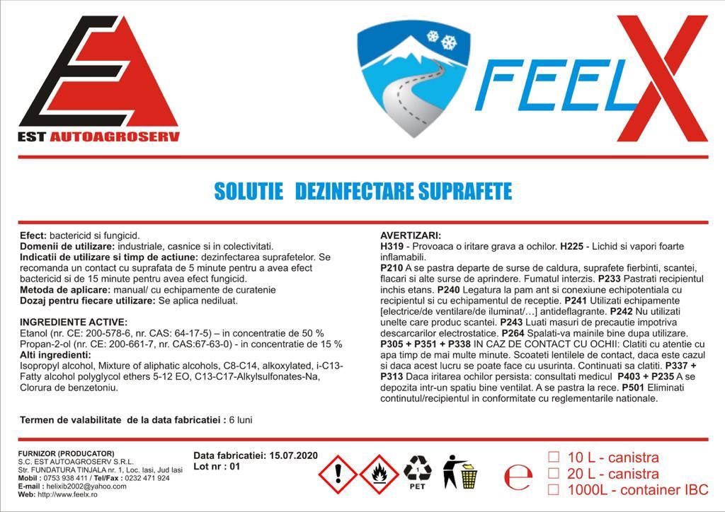 Soluție pentru dezinfectare suprafețe FEELX
